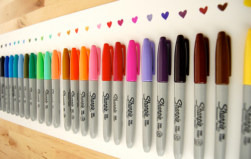 Make a Sharpie board. Use velcro to hold in place and draw a heart above  each marker so you know exactly what each color looks like.