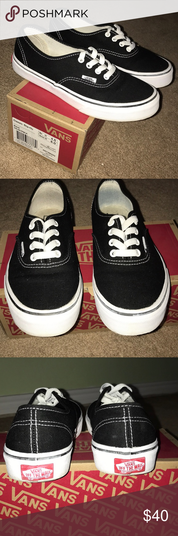 bfe5fec413e12 Black   white Authentic Vans. Size 6 women. 4 kids. Vans Shoes Sneakers