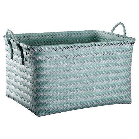 Tupperware Storage: Large Woven Rectangular Storage Basket   Aqua Mint    Room Essentials™