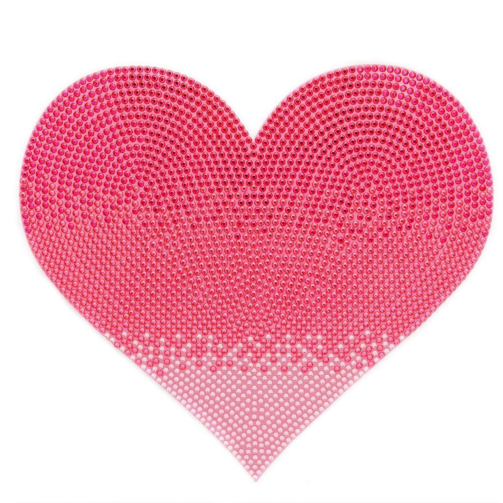 Rhinestone jumbo pink heart stickerbeans jumbo wall stickers