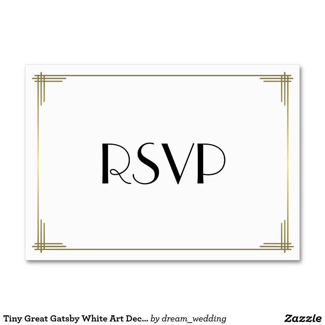 Tiny Great Gatsby White Art Deco Wedding Rsvp Large Business Card