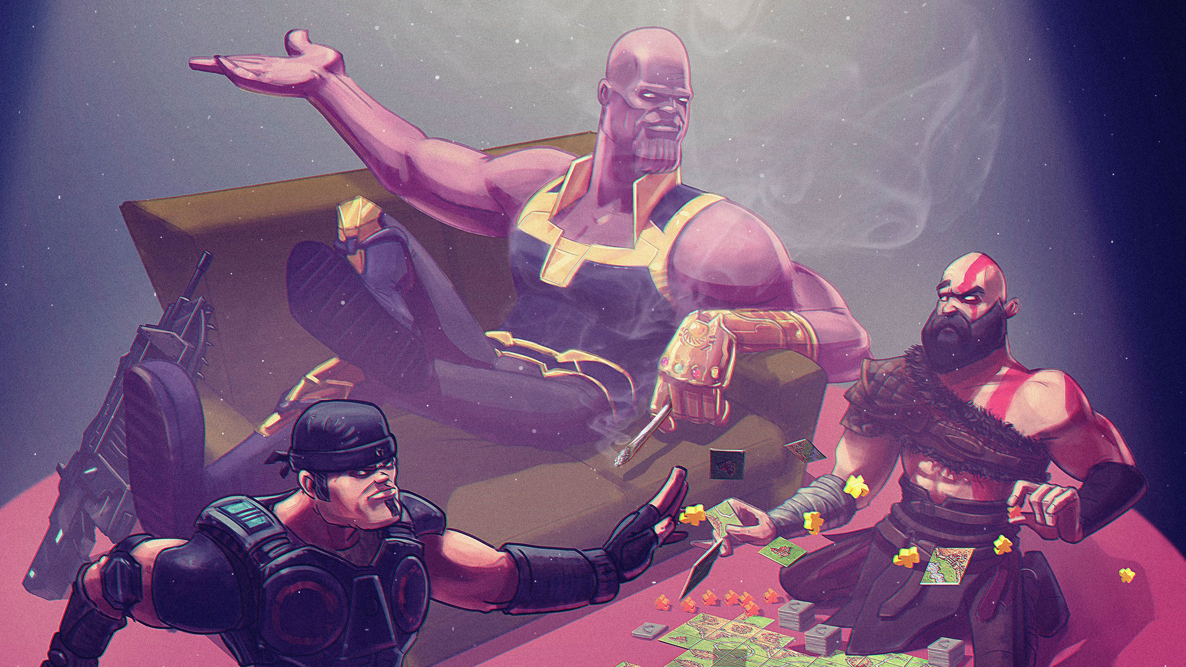 Thanos Kratos 4k thanoswallpapers, superheroes wallpapers