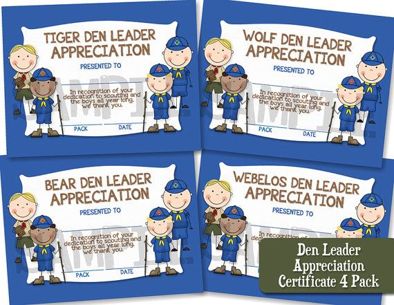 Den leader appreciation certificate 4 pack by capturedbyjessprints den leader appreciation certificate 4 pack by capturedbyjessprints 2000 boy scoutsappreciationkindergarten yelopaper Choice Image