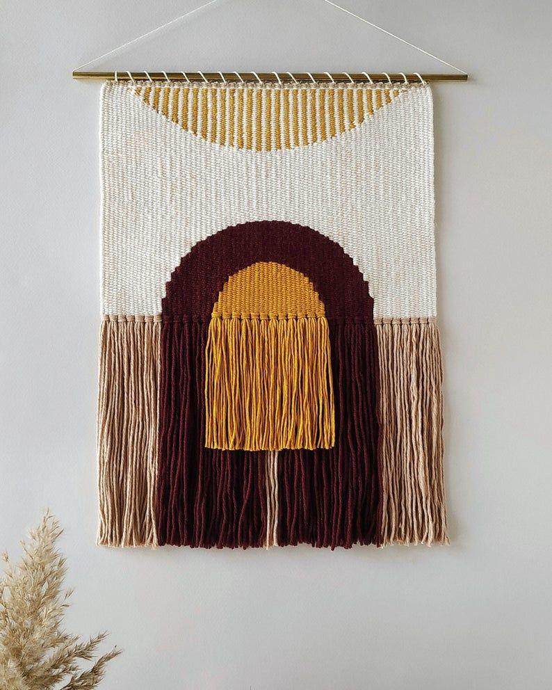 Modern abstract rainbow weaving Handwoven tapestry Minimal
