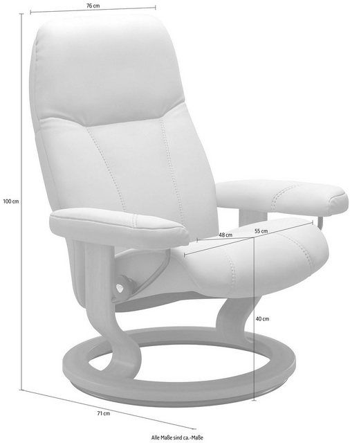 Photo of Relax armchair »Consul«, with Classic Base, size M, frame Whitewash
