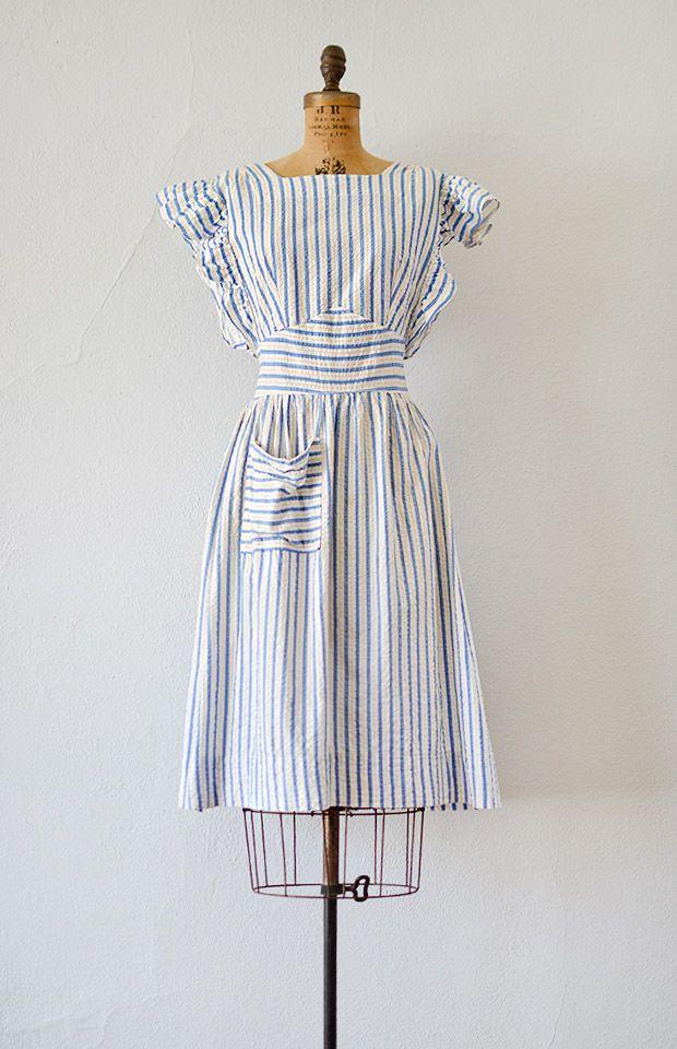Vintage 1940s Blue Striped Seersucker Pinafore Dress Manners Matter Dress 98 00 Adored Vintage Vintage Inspired Outfits 1940s Fashion Vintage Dresses