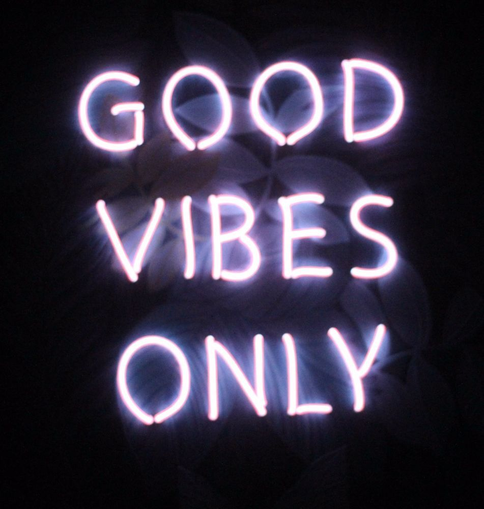 GOOD VIBES ONLY NEON SIGN PINK GLOW LIGHT WALL TROPICAL LEAVES LEAF ART FRAME In Home Furniture