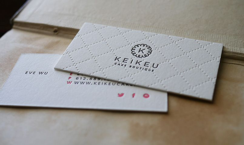 Absolutely Gorgeous Letterpress Business Cards For Keikeu Cake Boutique