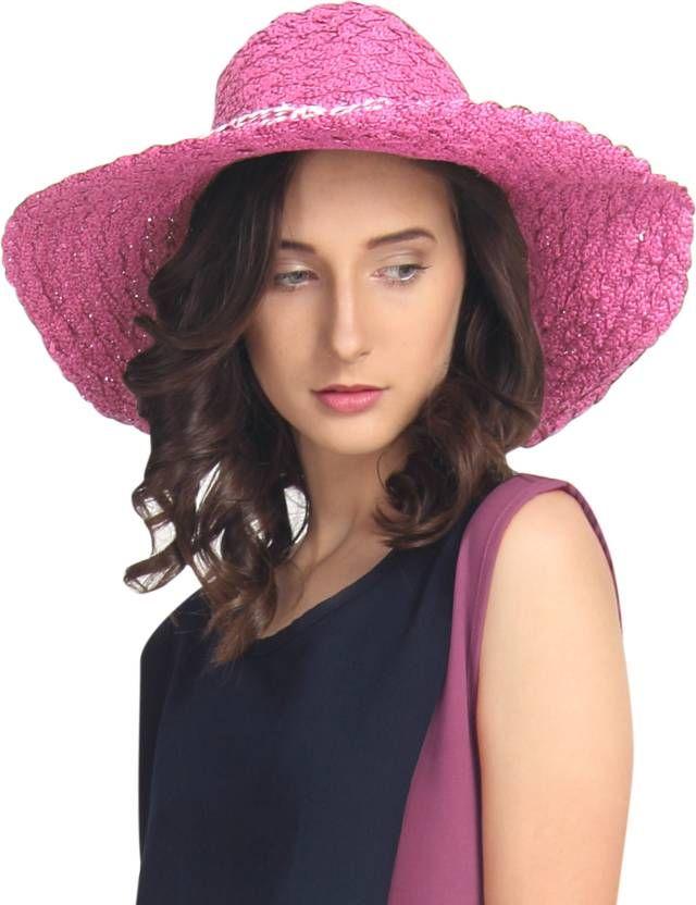 9ed0a3311f6 FabSeasons Self Design Long Brim Beach   Summer Hat  Hat ...