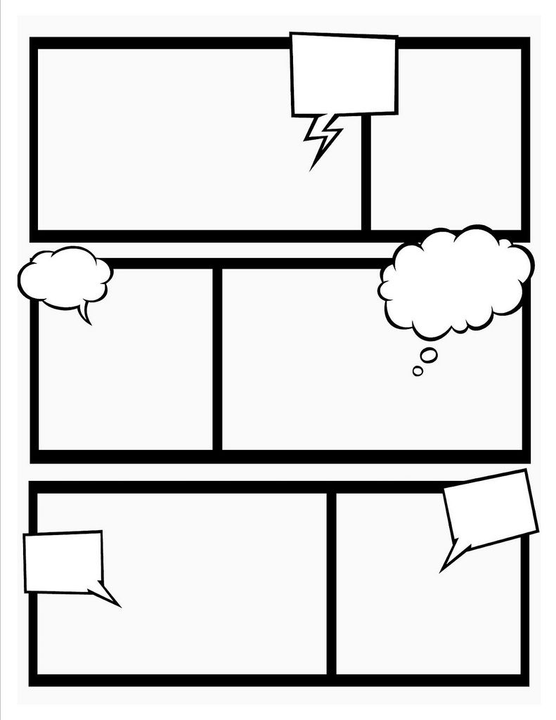 Comic book template school super hero theme and teacher for Printable blank comic strip template for kids