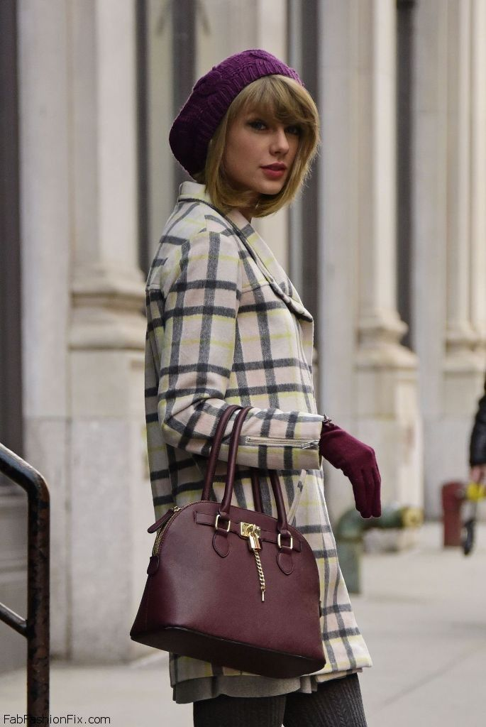 Taylor Swift winter street style with Finders Keepers checked coat and Aldo handbag (December 2014). #taylorswift