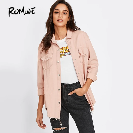 ROMWE Womens Collar Button Down Roll up Long Sleeve Casual Jacket Outwear with Front Pockets