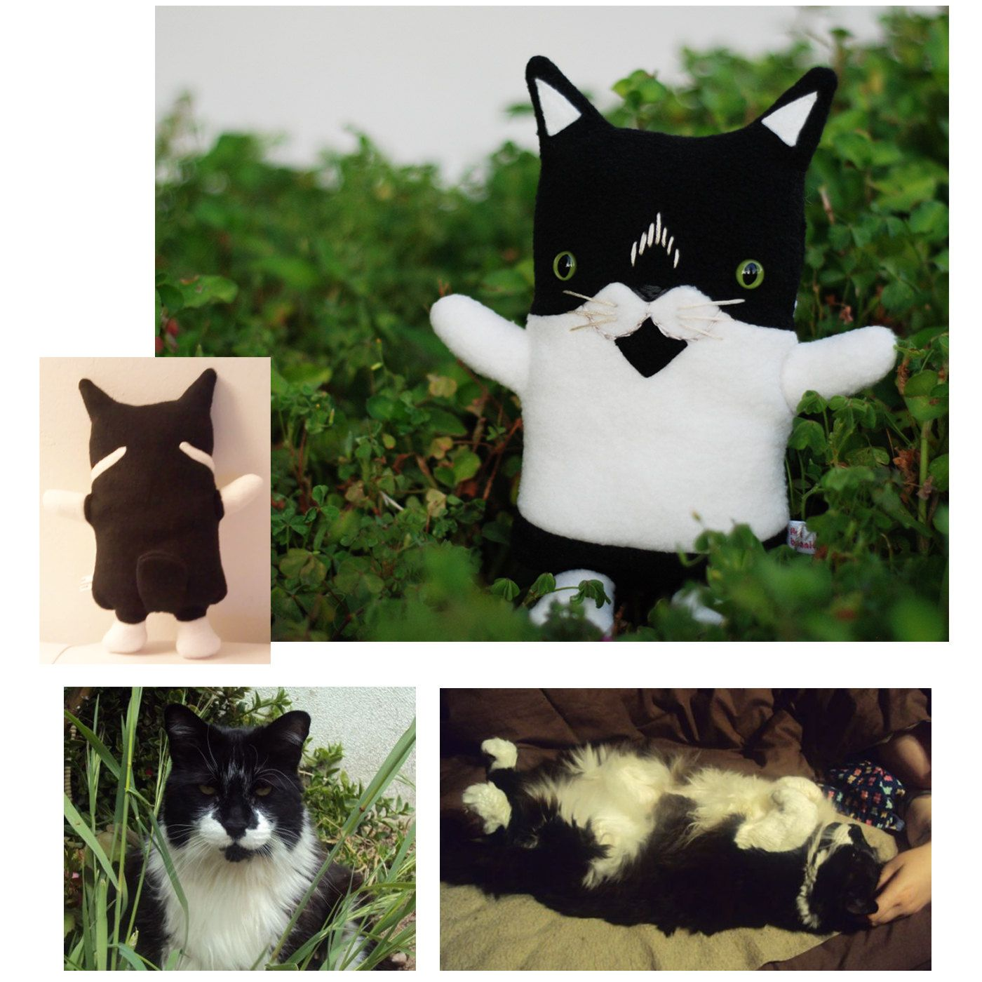 """Customized Flat Kitty Cat Plush / Classic - 11"""" tall. She does bunnies and doggies too. via Etsy. FlatBonnie."""