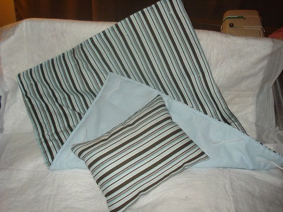 Blue and brown striped quilt and pillow set by SinCityPetClothes