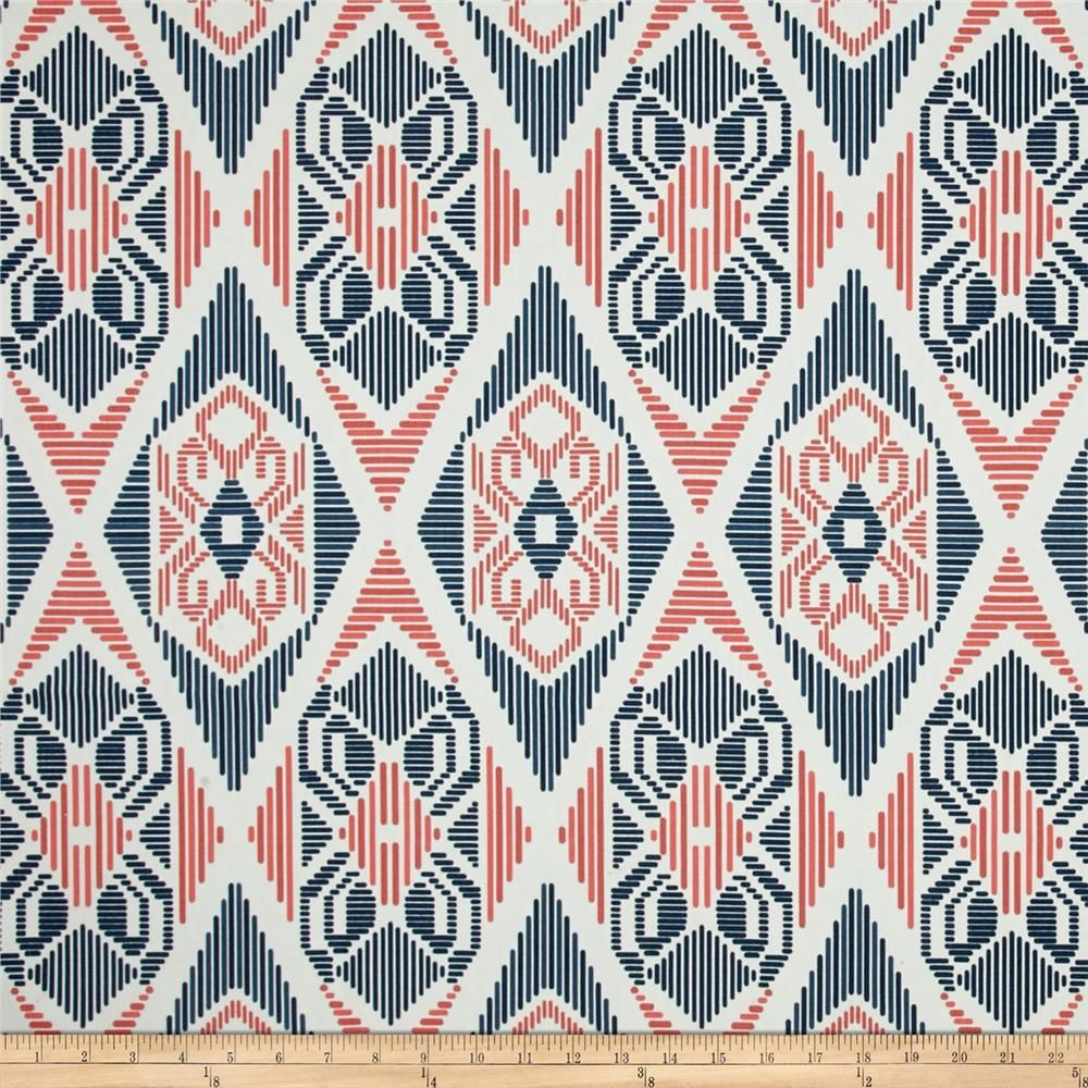 Premier Prints Munsee Twill Premier Navy/Coral From @fabricdotcom Screen  Printed On Cotton Twill