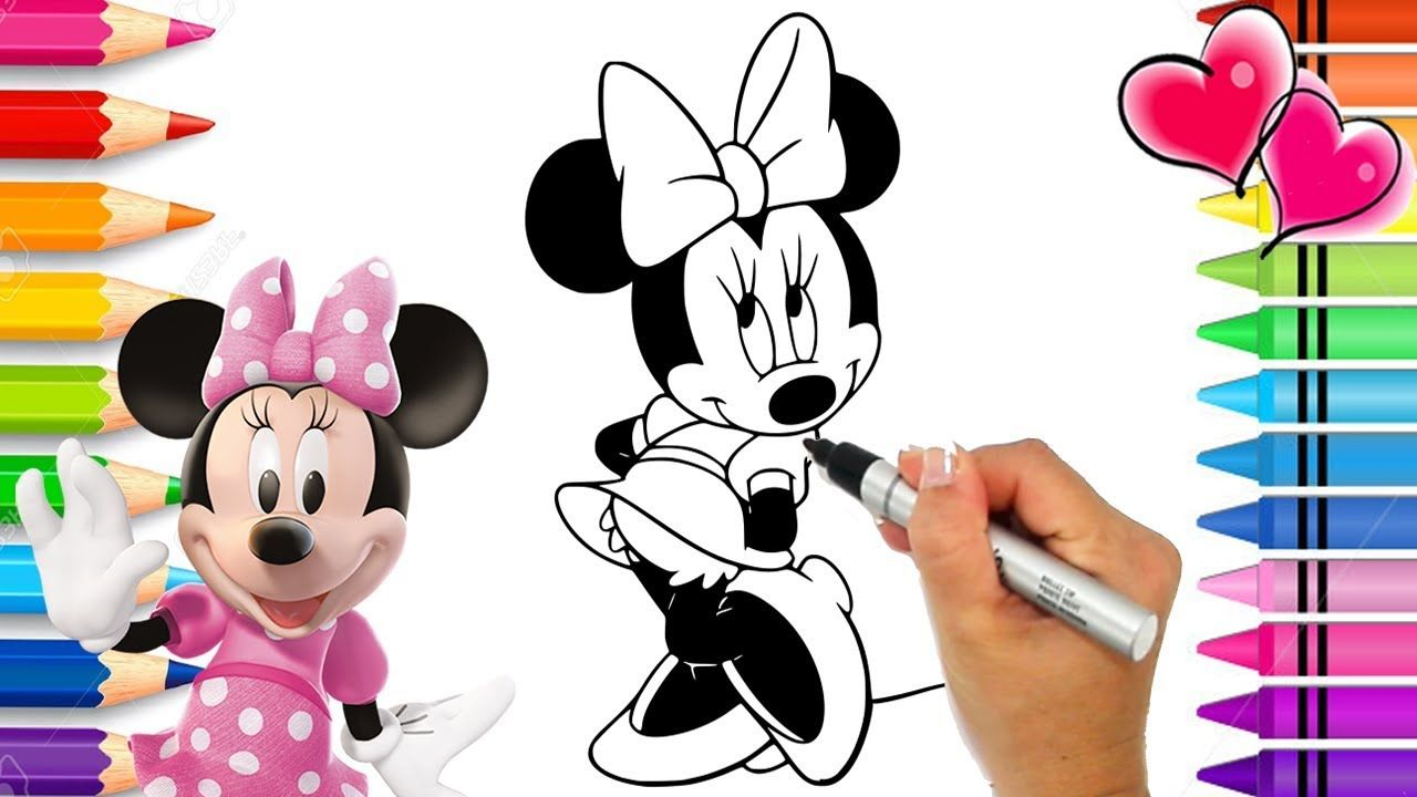 Minnie Mouse Beautiful Dress Coloring Page Glitter Art Mickey Mouse Glitter Art Coloring Pages Printable Coloring Pages