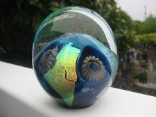 EICKHOLT STUDIO GLASS PAPERWEIGHT:Seascape Design,  Anemones , Iridescent Foil