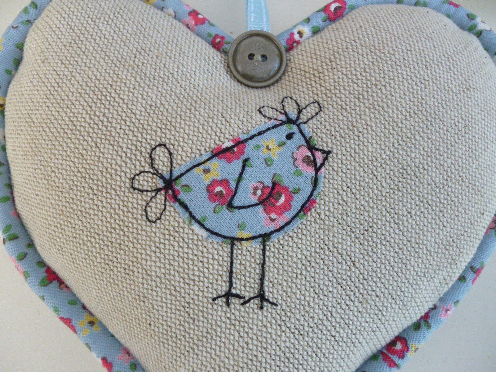 Handmade Lavender Hanging Heart, Cath Kidston Blue Floral Fabric, hen applique | eBay