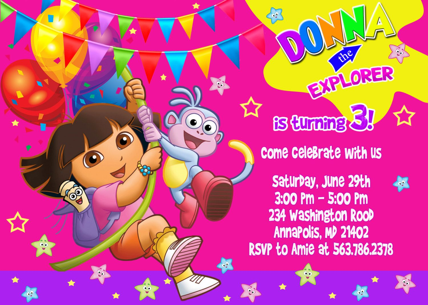 Dora+the+Explorer+Birthday+Party+Invitation++by+FunPartyPrintable,+$ ...