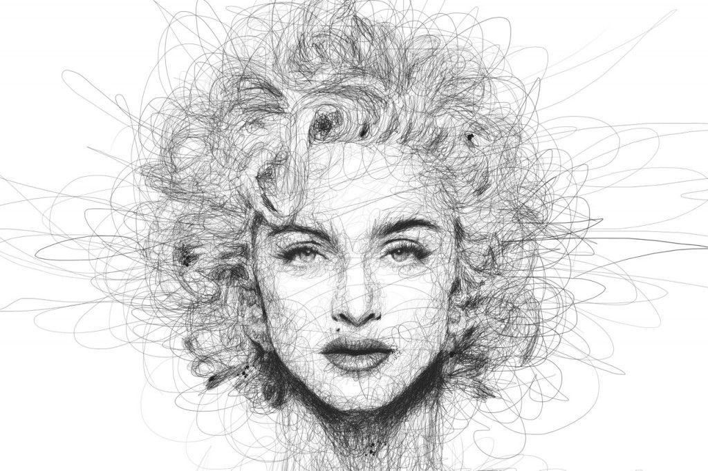 Scribble Pen Drawing : Ballpoint pen drawing of joker portrait from scribbles wip