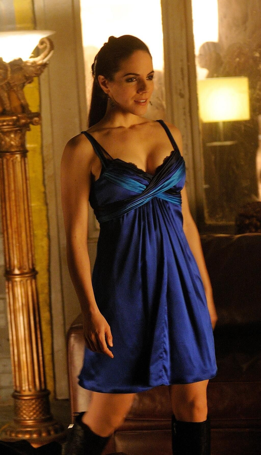 Anna Silk Bo Lost Satin Dresses Blue