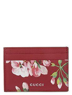 bc3dd3884ff36f GUCCI Floral print leather card holder | Gucci Gram | Gucci floral ...