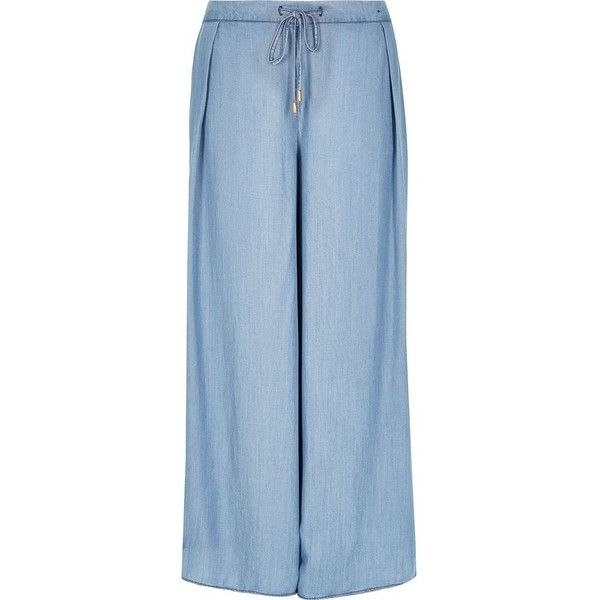 River Island Light blue palazzo pants ($51) ❤ liked on Polyvore featuring  pants,