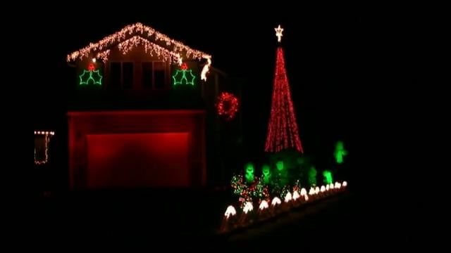 Christmas lights synchronized to