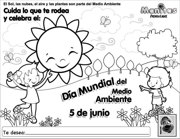 Dia Mundial Del Medio Ambiente Hoja Para Colorear Dia Mundial Del Medio Ambiente Medio Ambiente Dibujo Dia Del Medio Ambiente