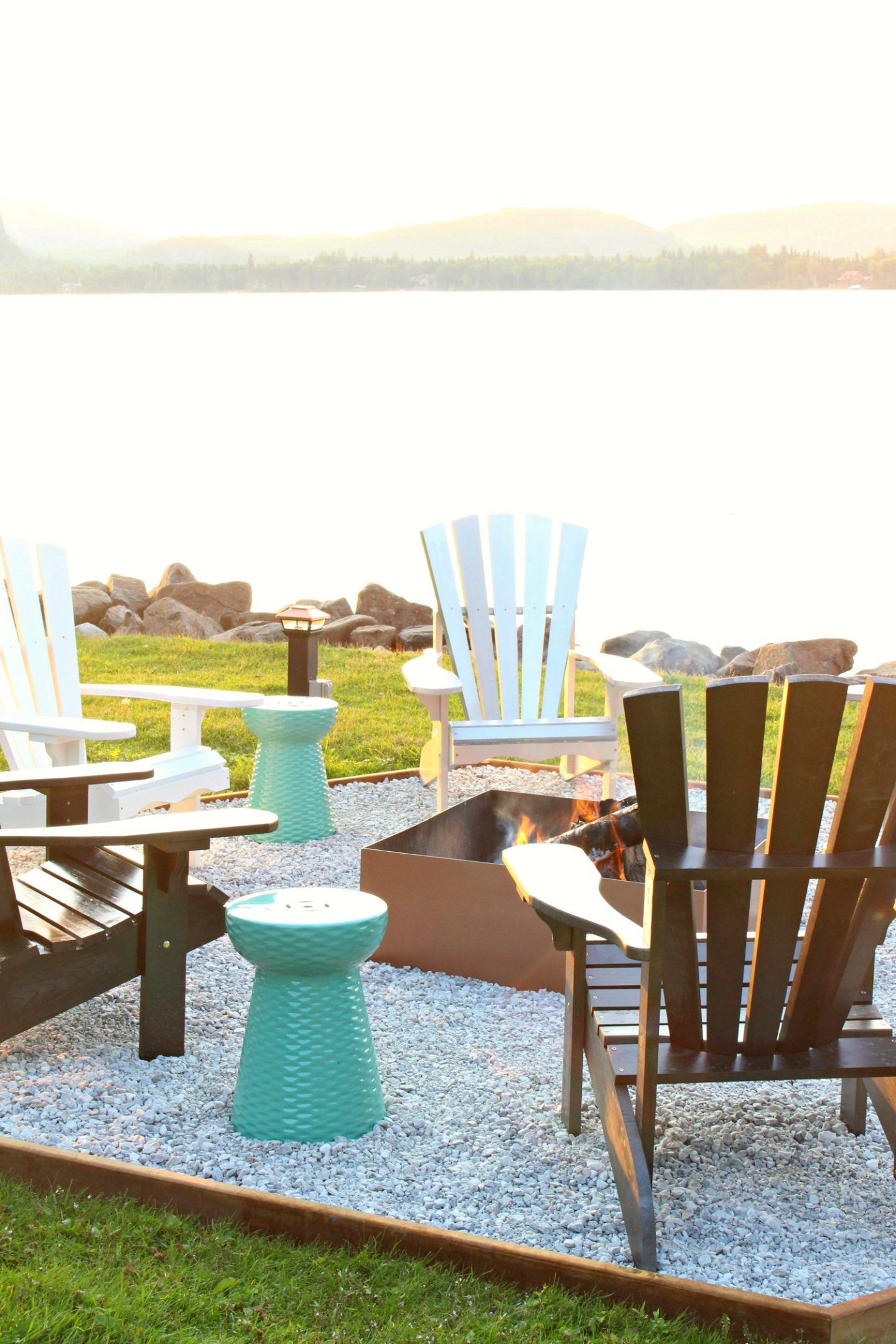 Fire Pit Makeover Diy Ombre Adirondack Chairs Sponsored By The