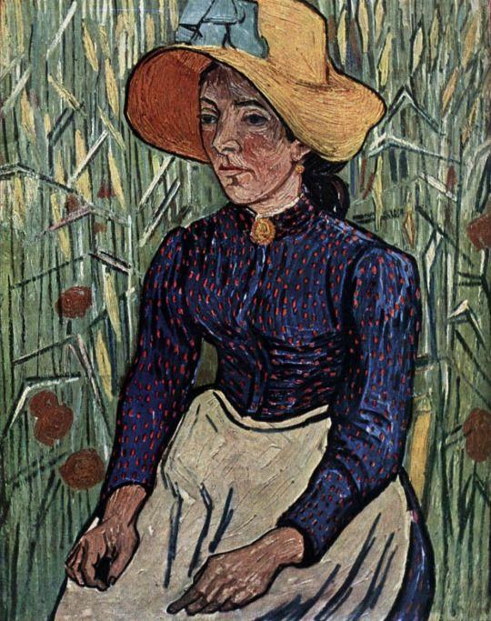 Campesina Mujer De Vincent Con Que Se Joven Van Gogh Paja Sombrero twUEFxqx