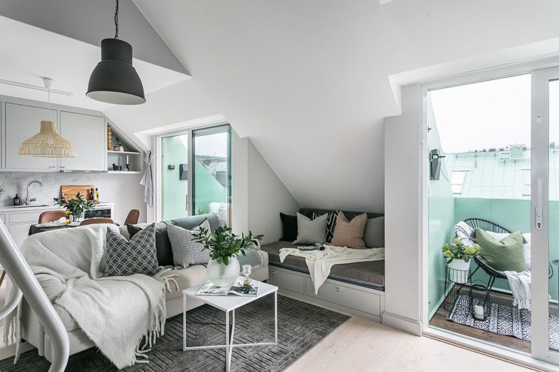 Cozy Small Attic Apartment In Stockholm 32 Sqm Pufik Beautiful Interiors Online Magazine Attic Apartment Small Attics Small Space Living