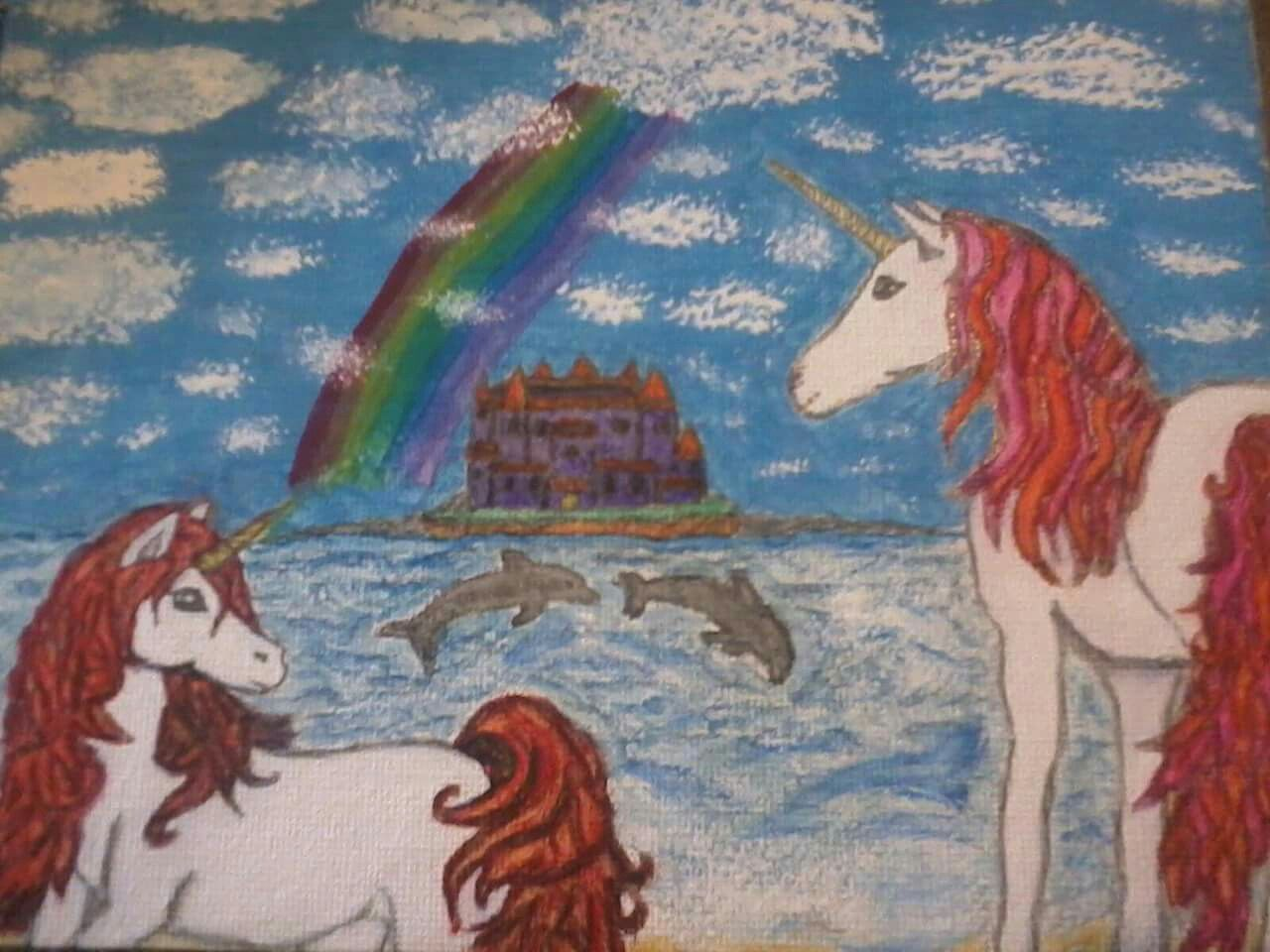 Fantasy island with unicorns and dolphins. For my friend Heather. Drawn with pencil and painted with Watercolors. #art #artwork #unicorn #unicorns #paintings #dolphins #rainbow #fantasyart #fantasy #paintings #canvasart #castle