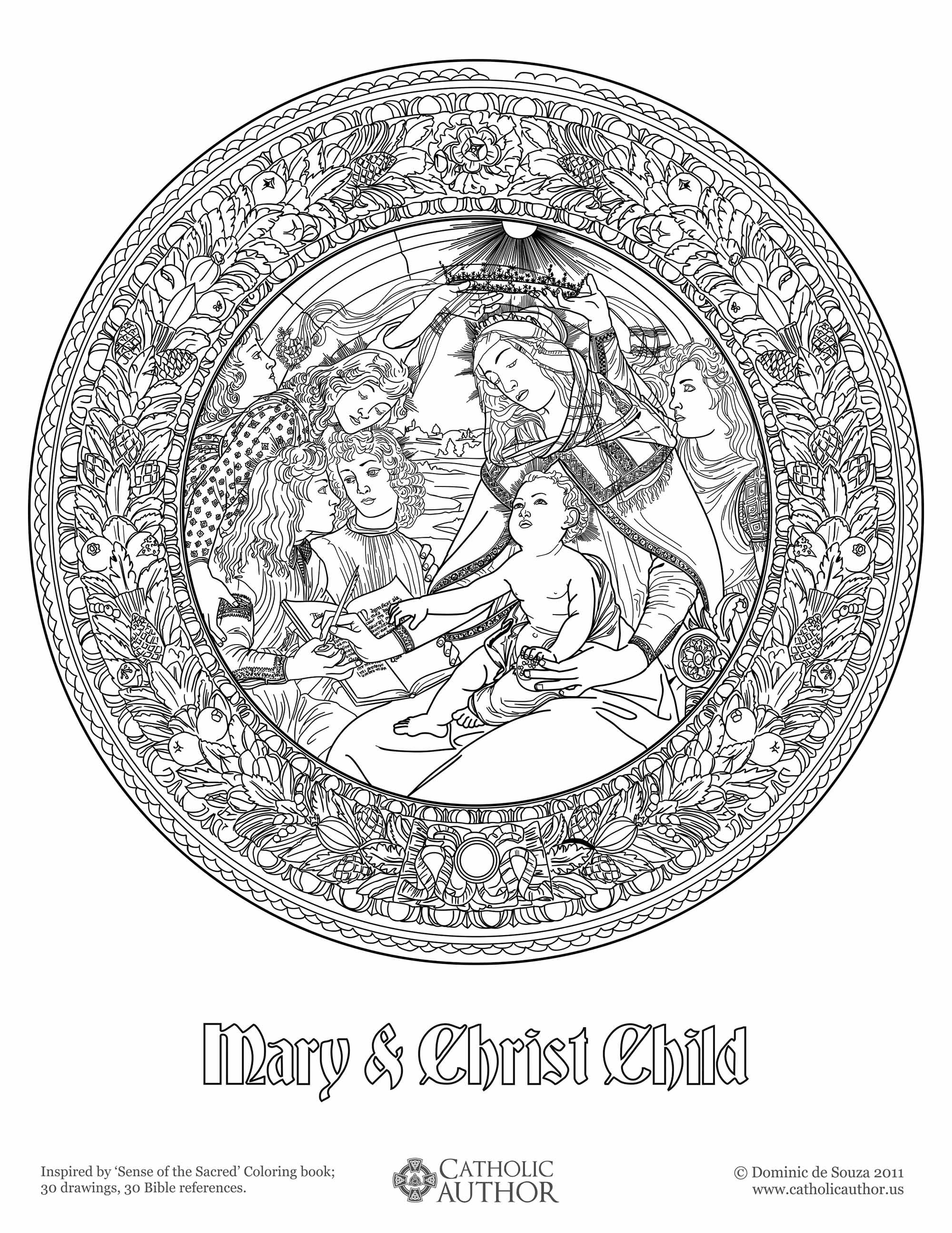 Mary & Christ Child - Free Hand-Drawn Catholic Coloring Pictures ...