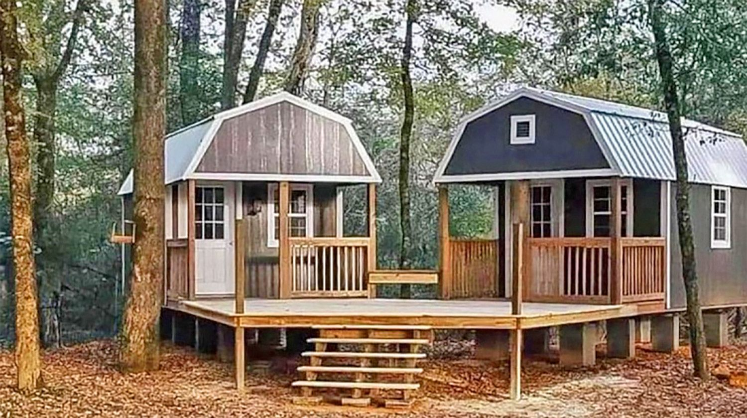 The We Shed Is A Dual Shed For Him And Her With A Conjoined Deck In 2020 Shed To Tiny House Portable Buildings Shed Homes
