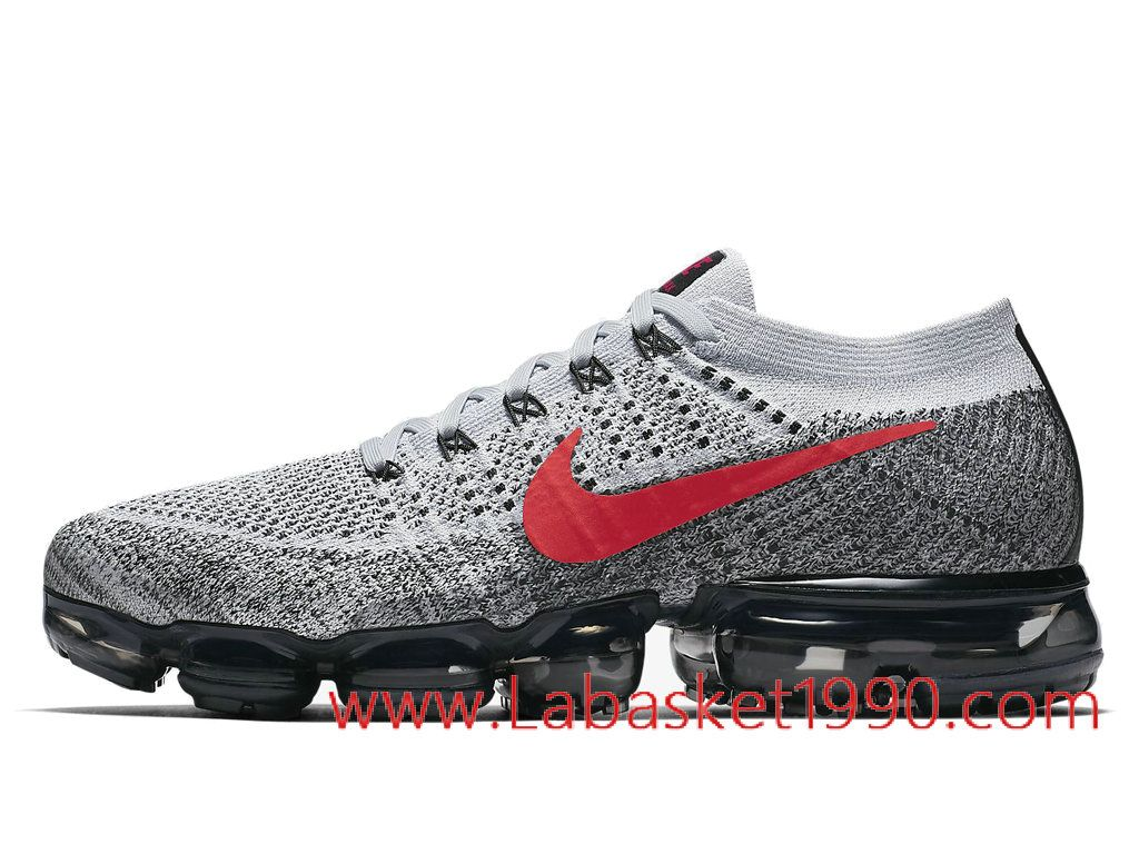 the latest bb38f 7b4b4 Nike Air VaporMax Flyknit 849558-020 Chaussures de BasketBall Pas Cher Pour  Homme Gris Rouge