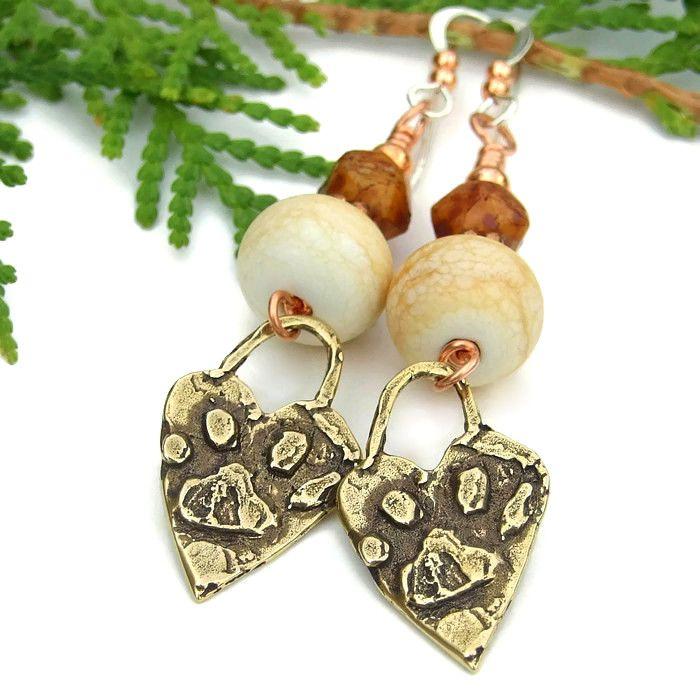 Bronze #Dog #PawPrint #Handmade #Earrings, Ivory Lampwork Artisan Jewelry by @ShadowDog #ShadowDogDesigns #ButterflysPin #Indiemade - $35.00 - SOLD *