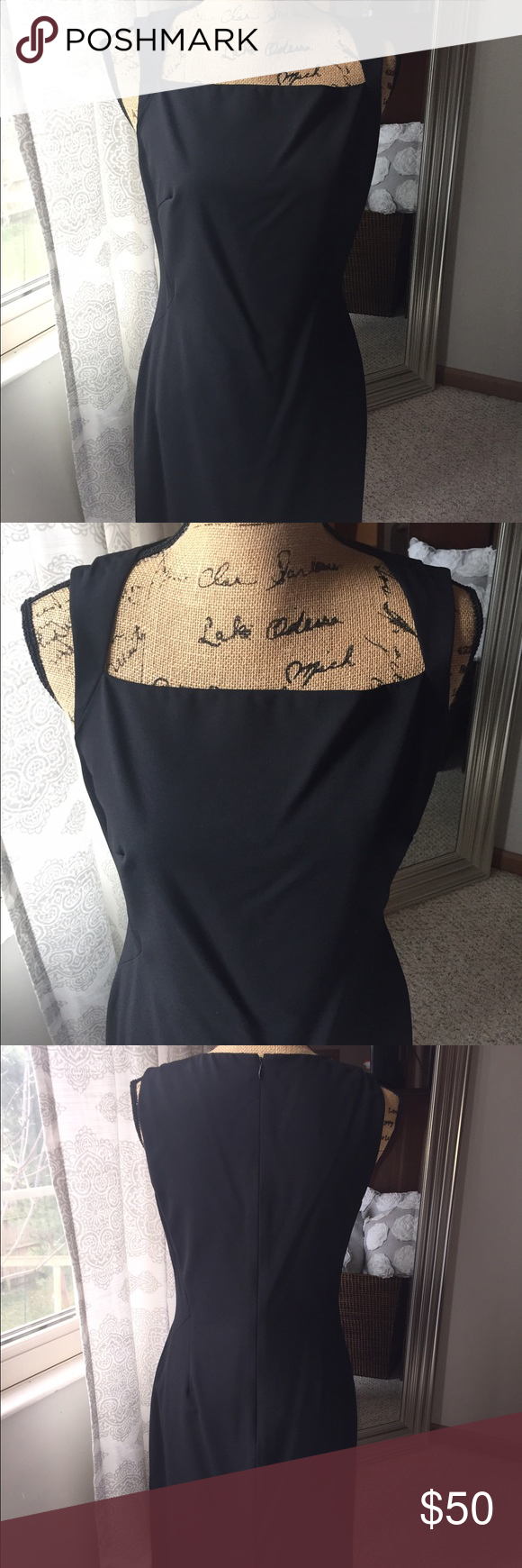 Black Ann Taylor Dress Perfect for office or out on town.  Beautiful neckline.  Has been kept in garment bag so in excellent y condition.  Worn at a wedding once. Ann Taylor Dresses