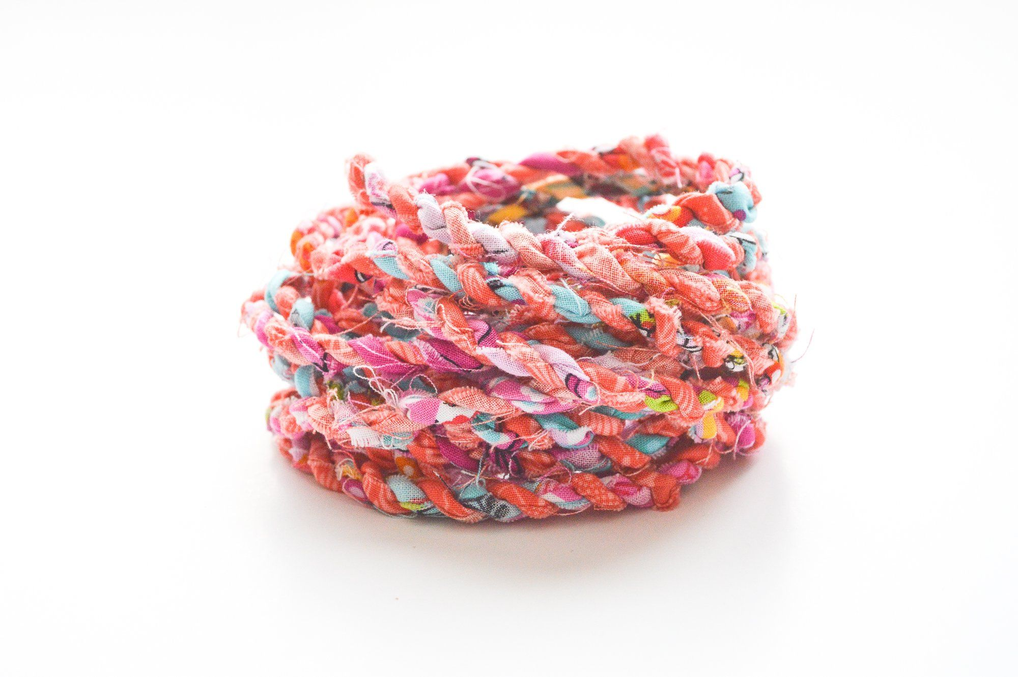 Pink Coral Fabric Twine / Rag Rope / Hand Twisted Cord