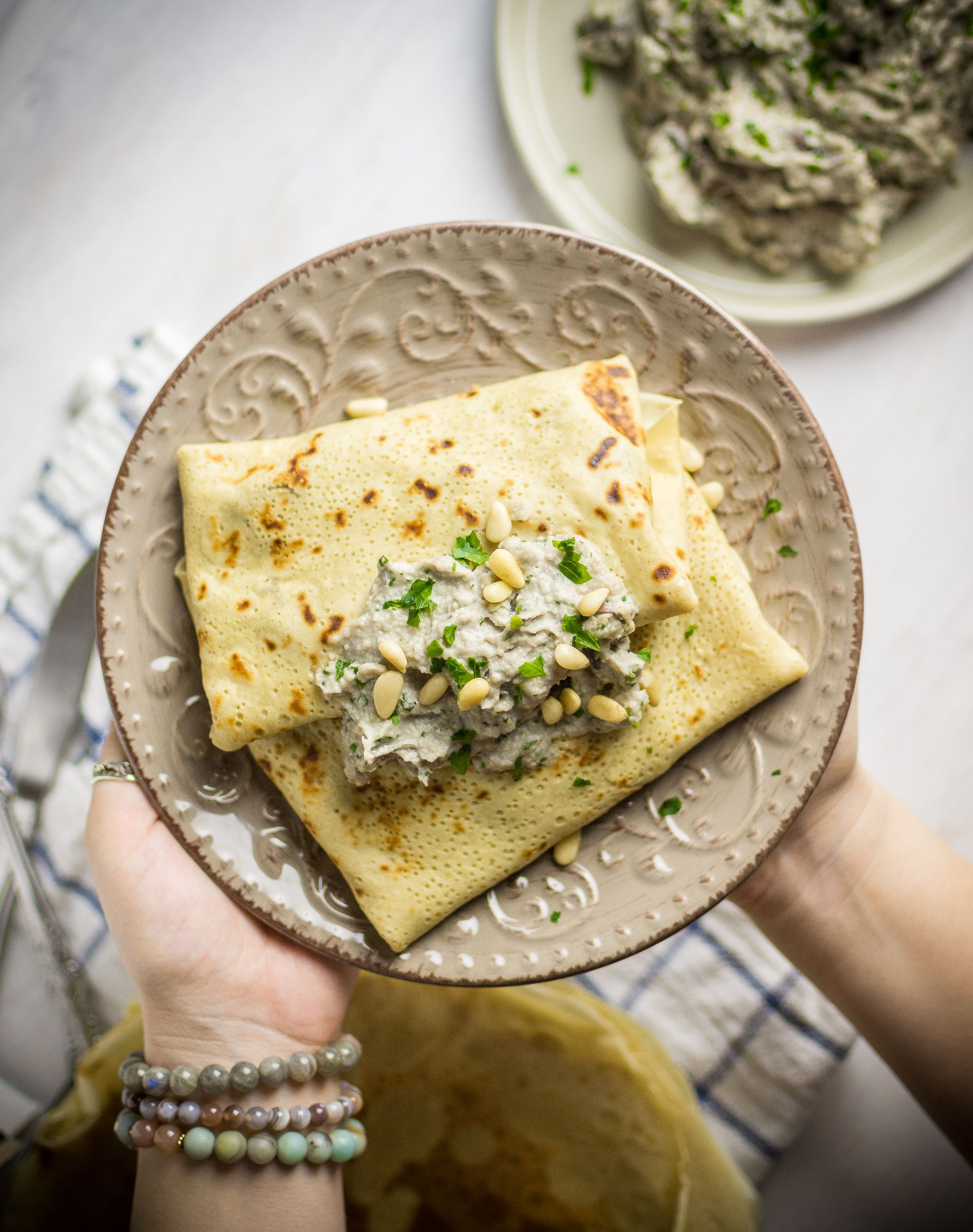 Savory Mushroom Crepes W Cashew Cream Plant Baked Recipe Savory Crepes Crepe Recipe Savory Savory Crepes Filling
