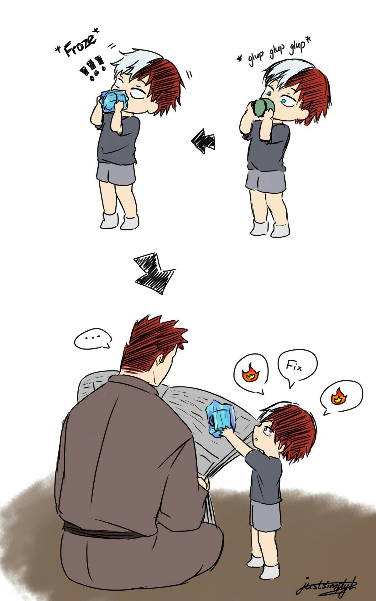 Little Shouto keeps freezing things, he then asks Enji to