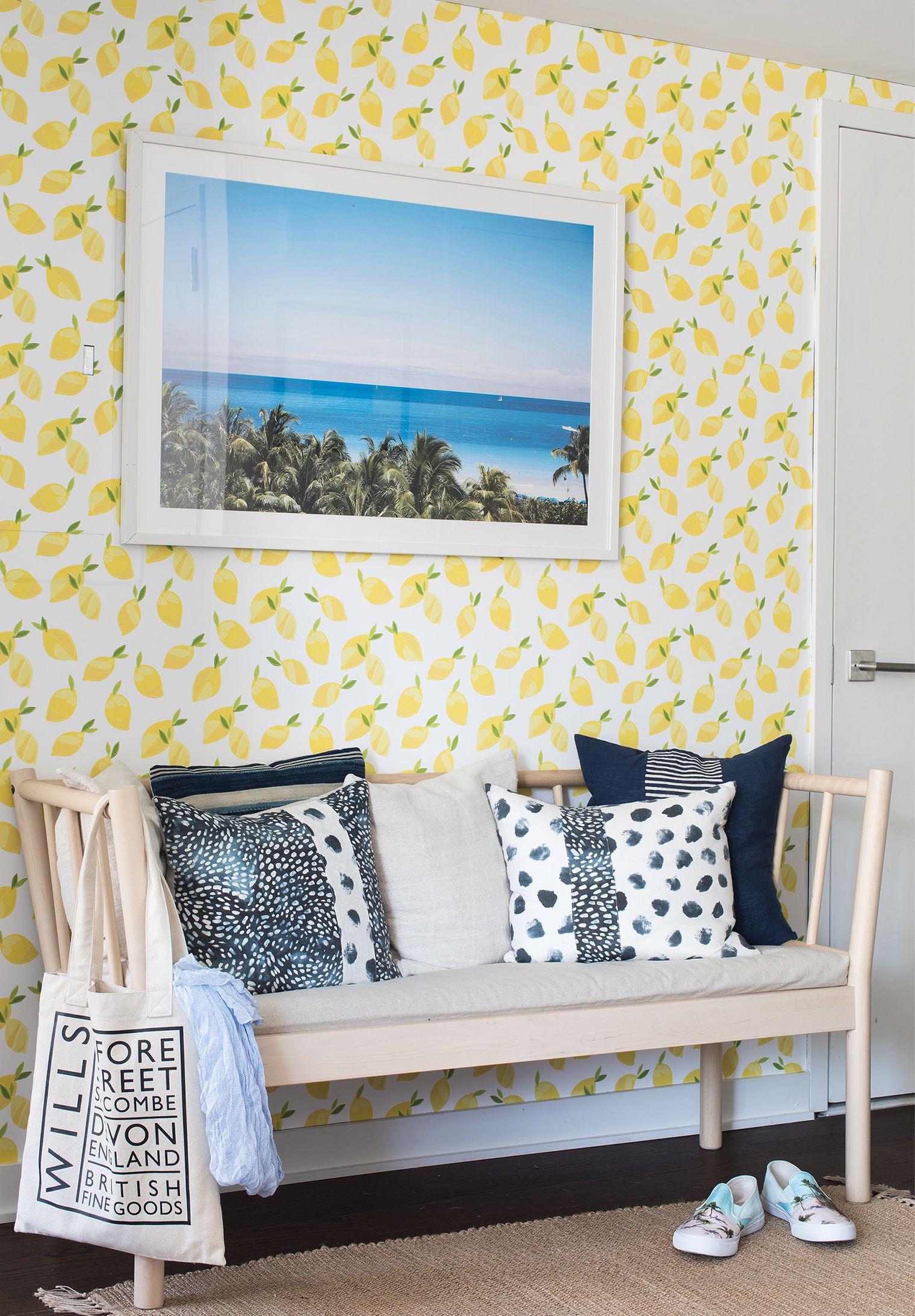 Lemon Wallpaper My Summer Entryway Makeover