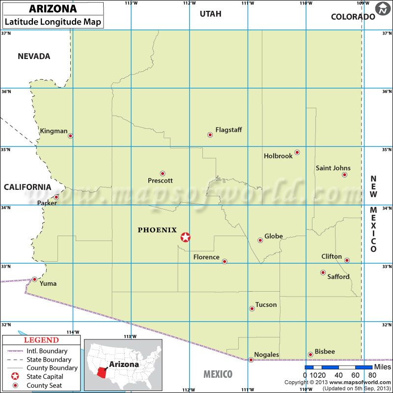 Arizona Latitude And Longitude Map Stars Pinterest Lat Long - Latitude us map