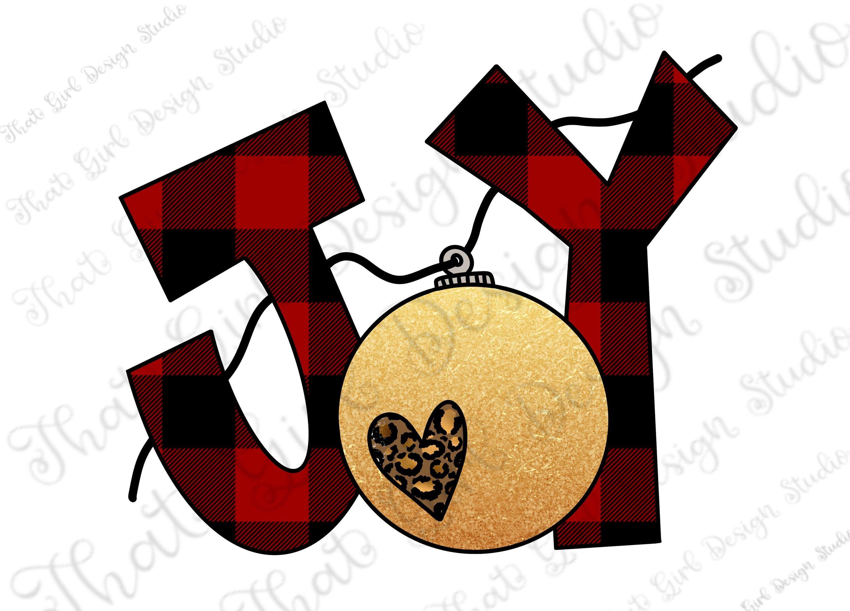 Christmas, Joy, Leopard Print, Buffalo Plaid, Ornament