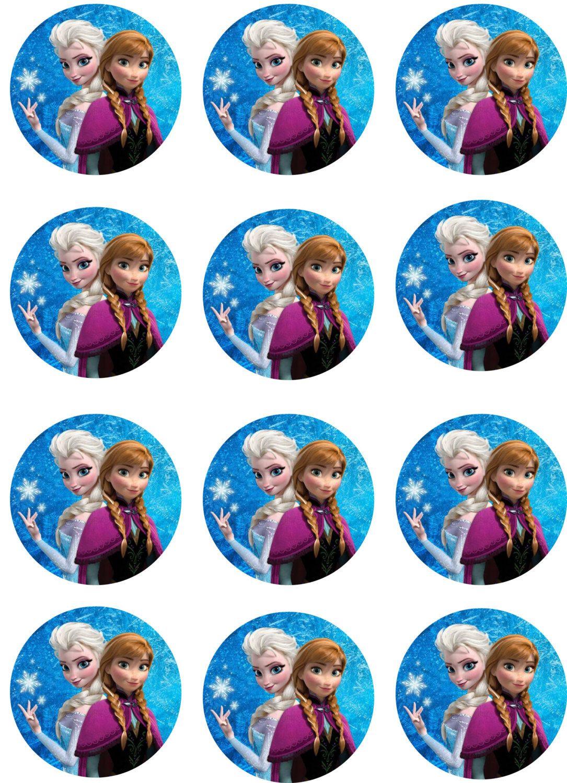 Disney Frozen Elsa 24 Personalised Pre-Cut Edible Cupcake Toppers Girls Party