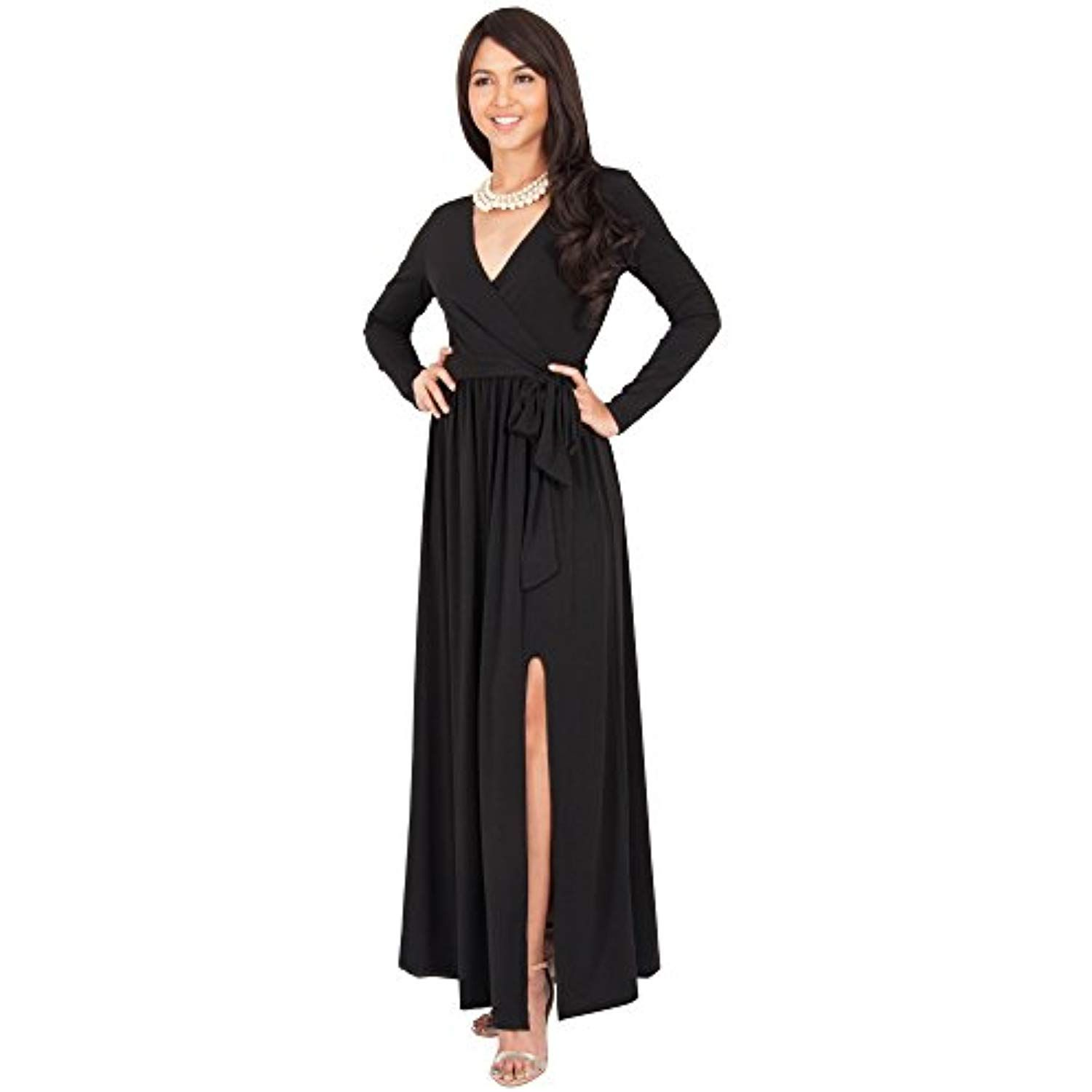 ac2a736b7b Womens Long Sleeve V-Neck Cross Over High Slit Cocktail Evening Gown Maxi  Dress -- More info could be found at the image url. (This is an affiliate  link)