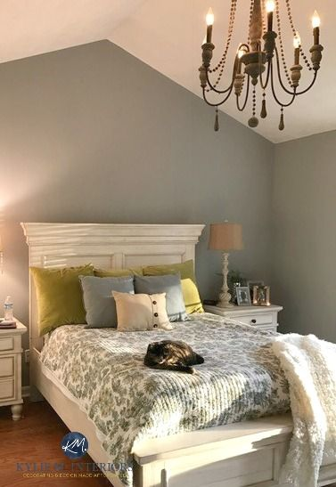 Sherwin Williams Ellie Gray In A Master Bedroom With White Furniture And Cathedral Ceiling Kylie M Interiors E Design