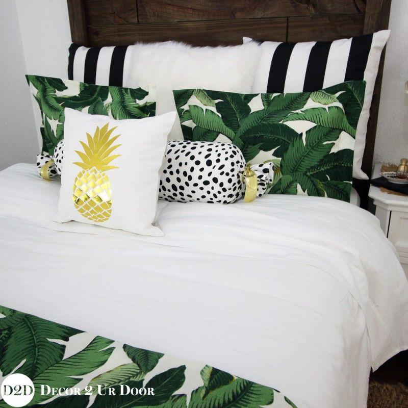 palm leaf black white stripe apartment bedding set black
