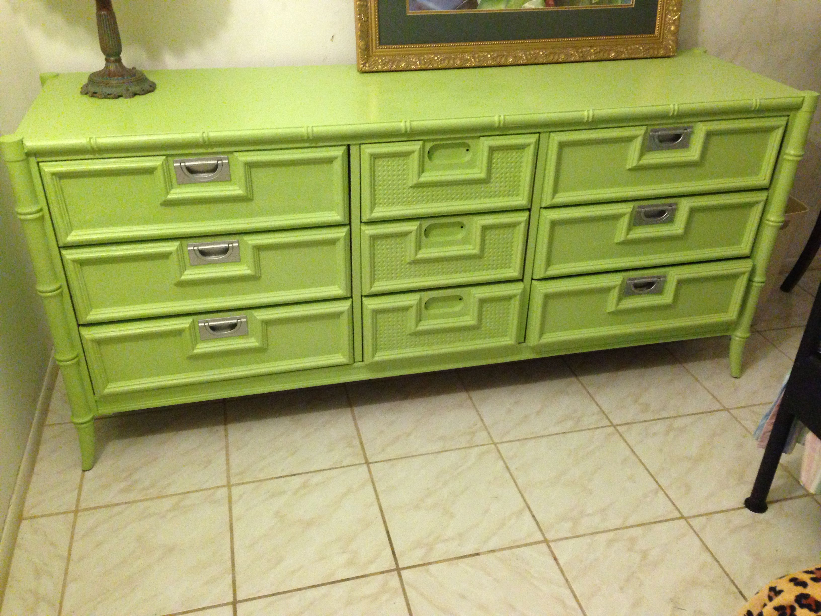 DIY Green Painted Dresser with Silver Accents I Am ting