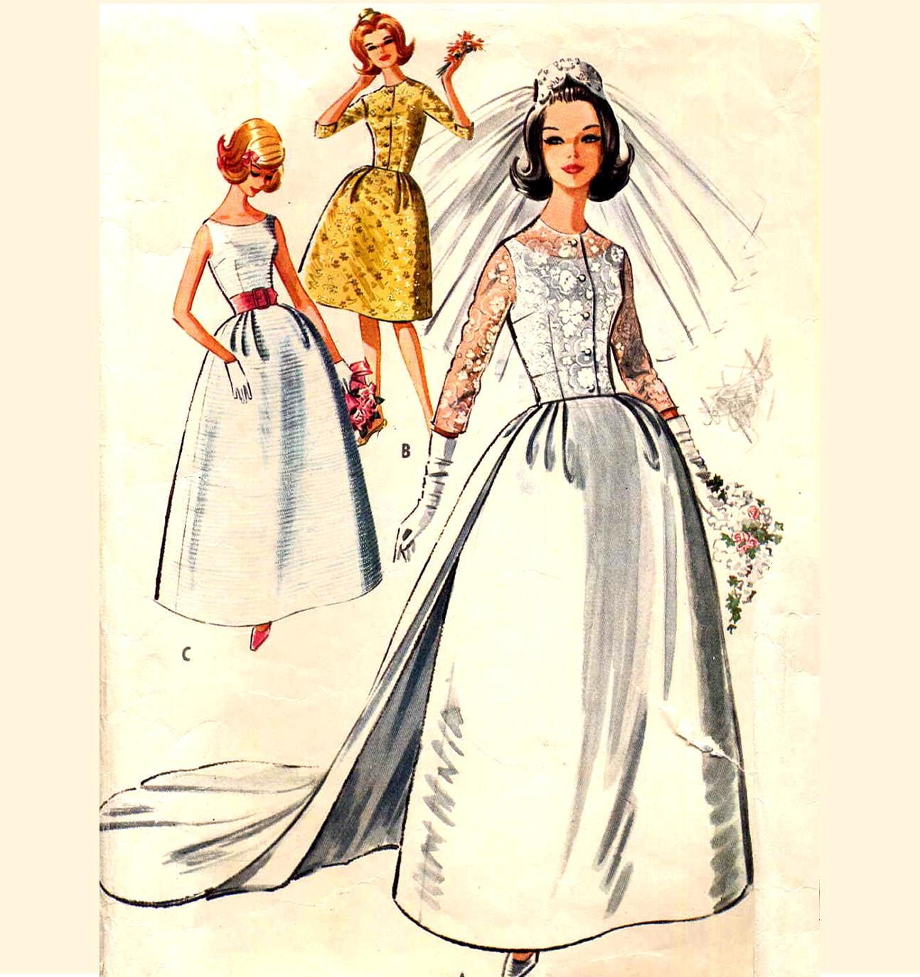 Traditional Wedding Gowns With Detachable Trains: Vintage 1960s Bell Skirt Wedding Dress With Detachable